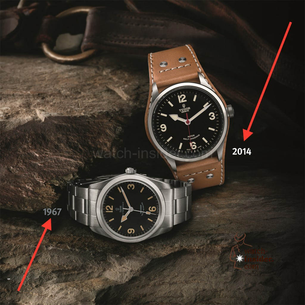 Left the 1967 TUDOR OYSTER PRINCE RANGER Ref. 7995 and right the 2014 TUDOR HERITAGE RANGER.