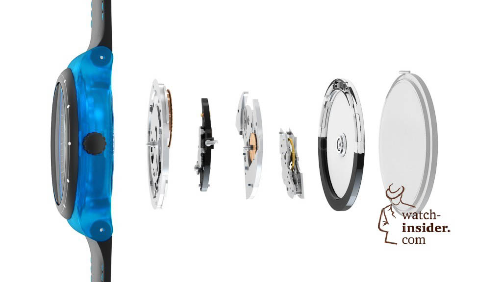 Swatch Sistem51 features an automatic (self-winding) mechanical movement made from a total of 51 components