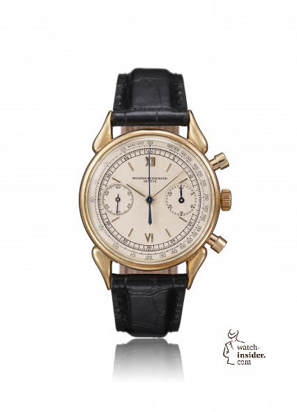 "1954 - Minute-counter chronograph, reference 6087. 18K yellow gold, ""cow horn"" lugs, water resistant. Silvered dial with Roman numerals and baton indexes, 30-minute counter at 3 o'clock, small seconds at 9, external minute track, tachymeter. Caliber 13'' -942 N° 11056"