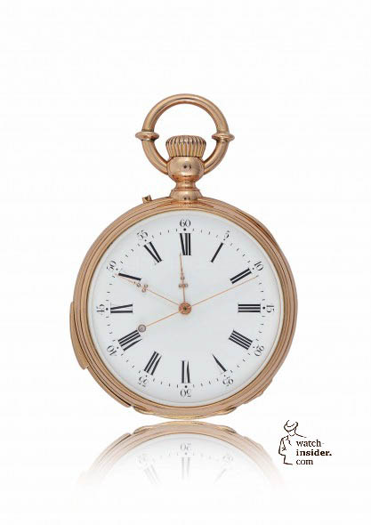1873 - Independent center-seconds watch, quarter repeater. 18K yellow gold and niello, white enamel dial with Roman numerals and external minute circle. Center-seconds hand stop action by a slide piece on the case band. Caliber RA 19'' independent second, quarter-repeater N° 11823