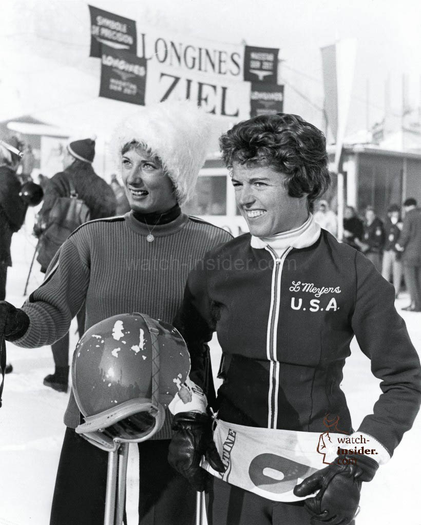 The American Linda Meyers (on the right), winner of the slalom in Kitzbühel where Longines was in charge of the timekeeping, 1960.