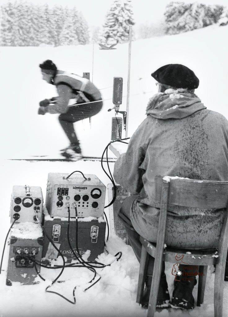 The Longines team tests the timekeeping equipment in Kitzbühel, 1964.