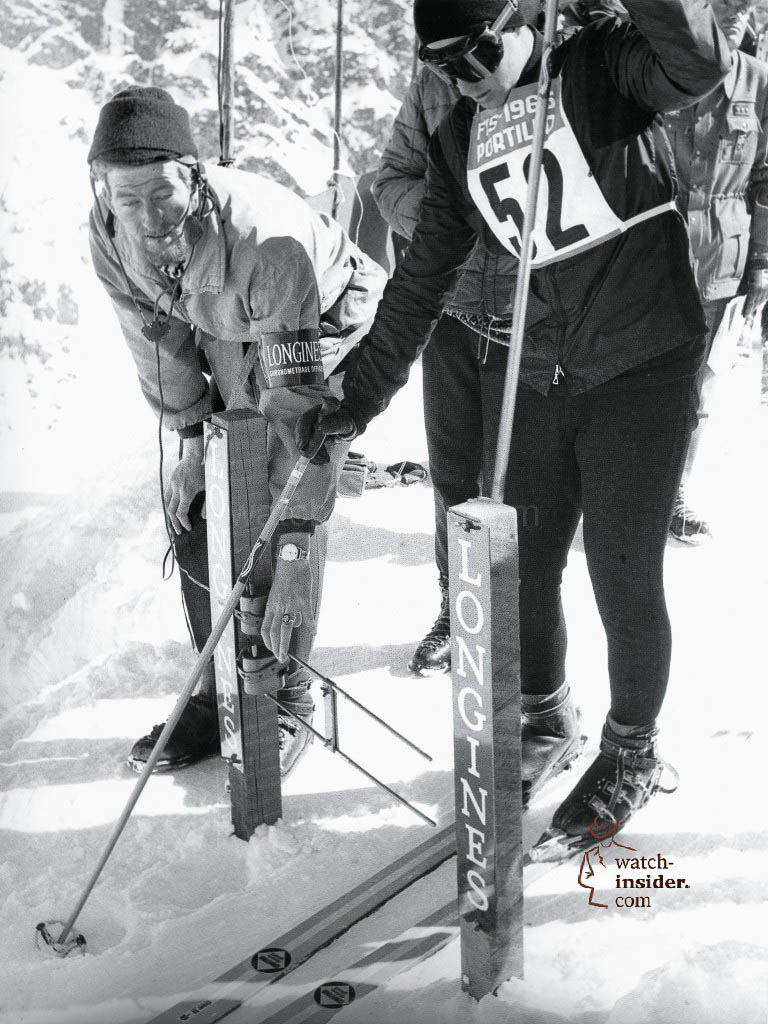 A Longines timekeeper gets the equipment at the starting gate ready during the Hahnenkamm races in 1966.
