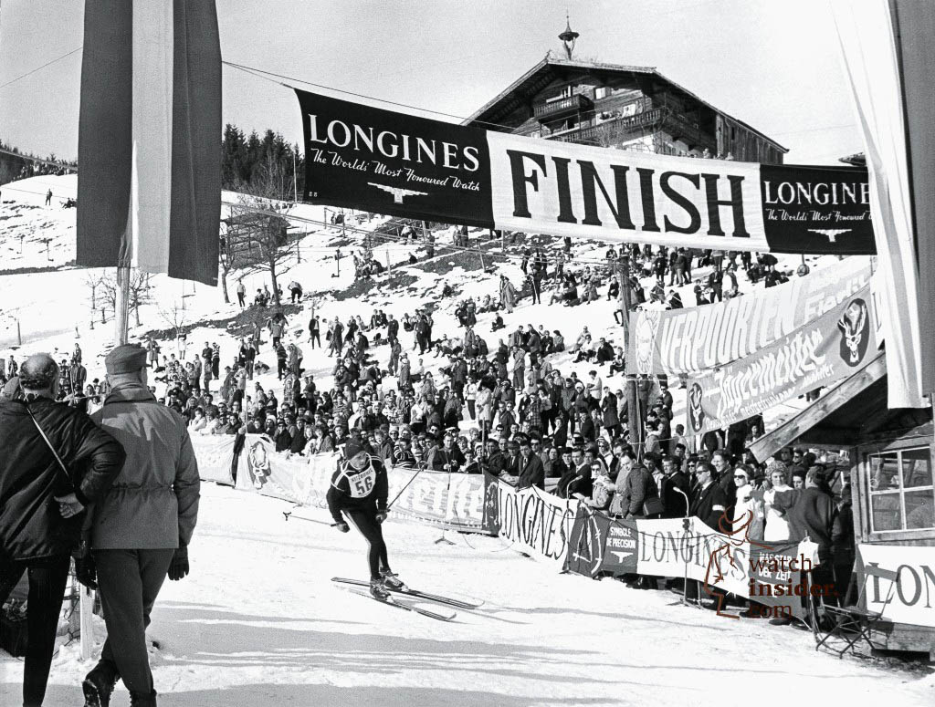 The finish line of the Hahnenkamm race in 1969, where Longines was in charge of the timekeeping.