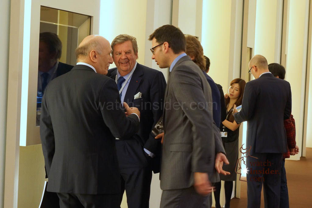 A very happy and laughing Johann talking with Angelo Bonati and members of the Panerai team.