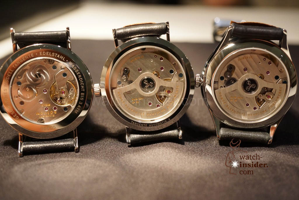 From left to right: Nomos Tangente, Nomos Tangente Automatik and Nomos minimatik