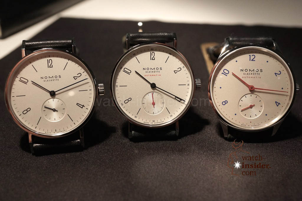 From left to right: Nomos Glashütte Tangente, Nomos Glashütte Tangente Automatik and Nomos Glashütte  Minimatik