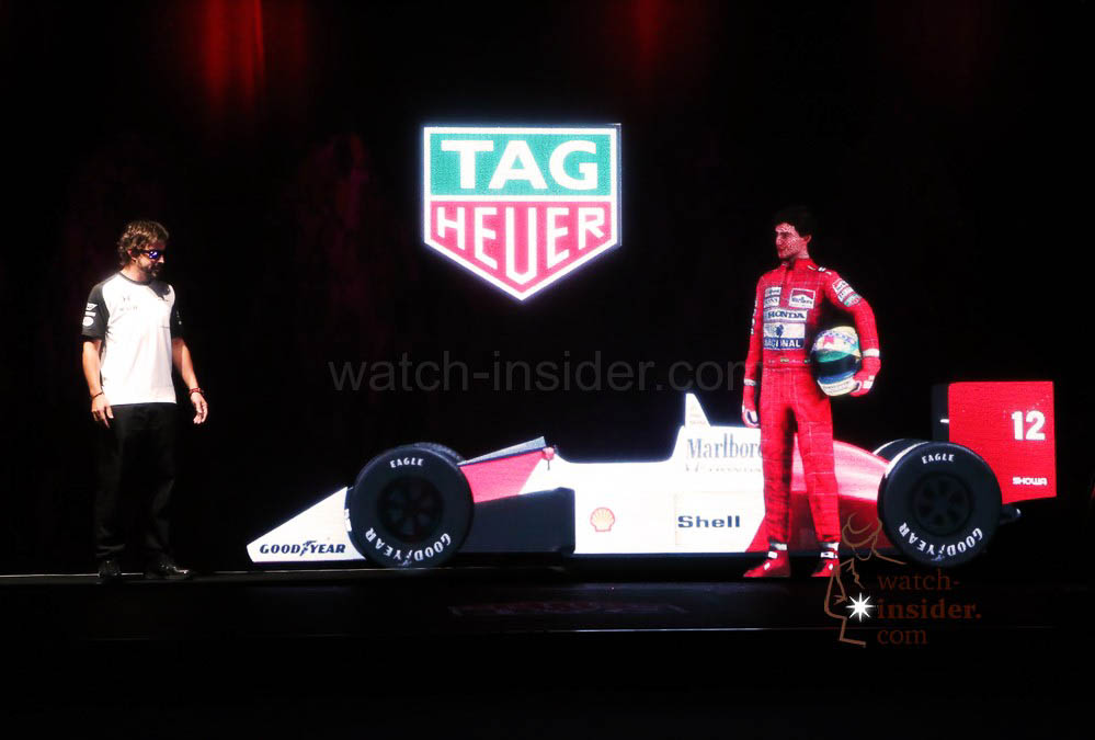 Fernando Alonso with the Senna Hologram