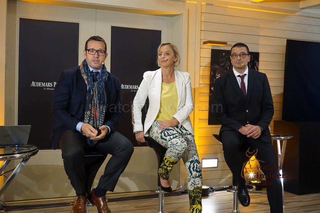 François-Henry Bennahmias, Audemars Piguet CEO, Sabine Kehm, she is Michael Schumacher´s agent, and Giulio Papi, the brain behind the watch...