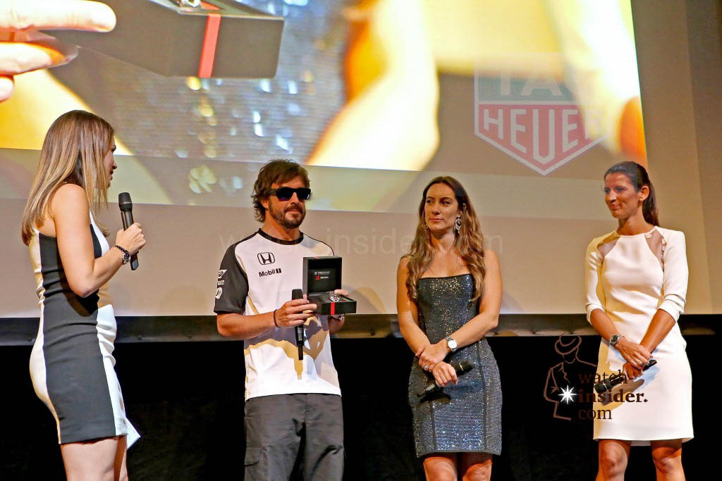 Spanish Formula 1-driver and double world champion Fernando Alonso on stage in Barcelona