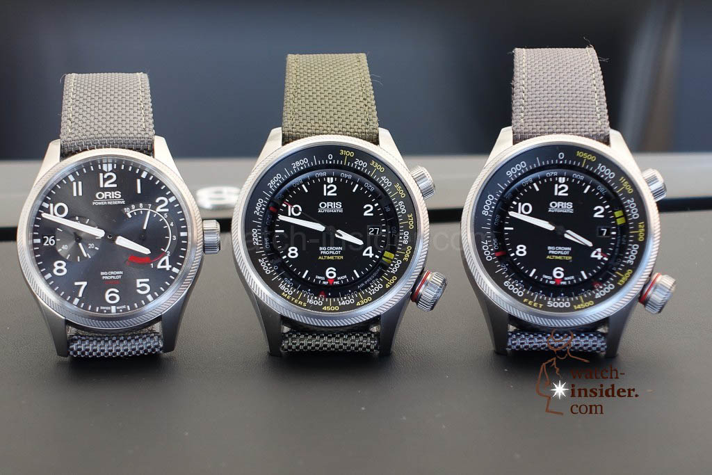 ORIS Big Crown Pro Pilot and the two versions of the Oris Pro Pilot Altimeter watch