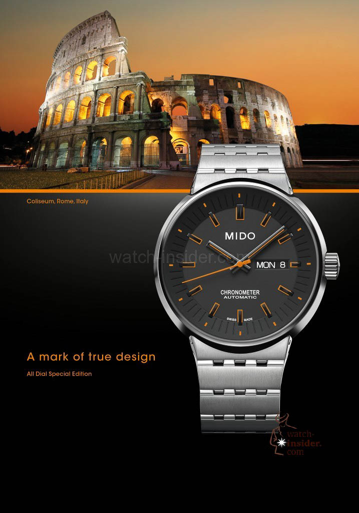 Inspired by the Coloseum in Rome... the Mido All Dial Special Edition