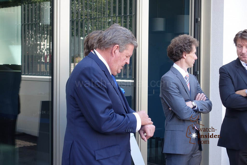 Richemont Chairman Johann Rupert waiting for the German Chancellor Angela Merkel to arrive in Glashütte