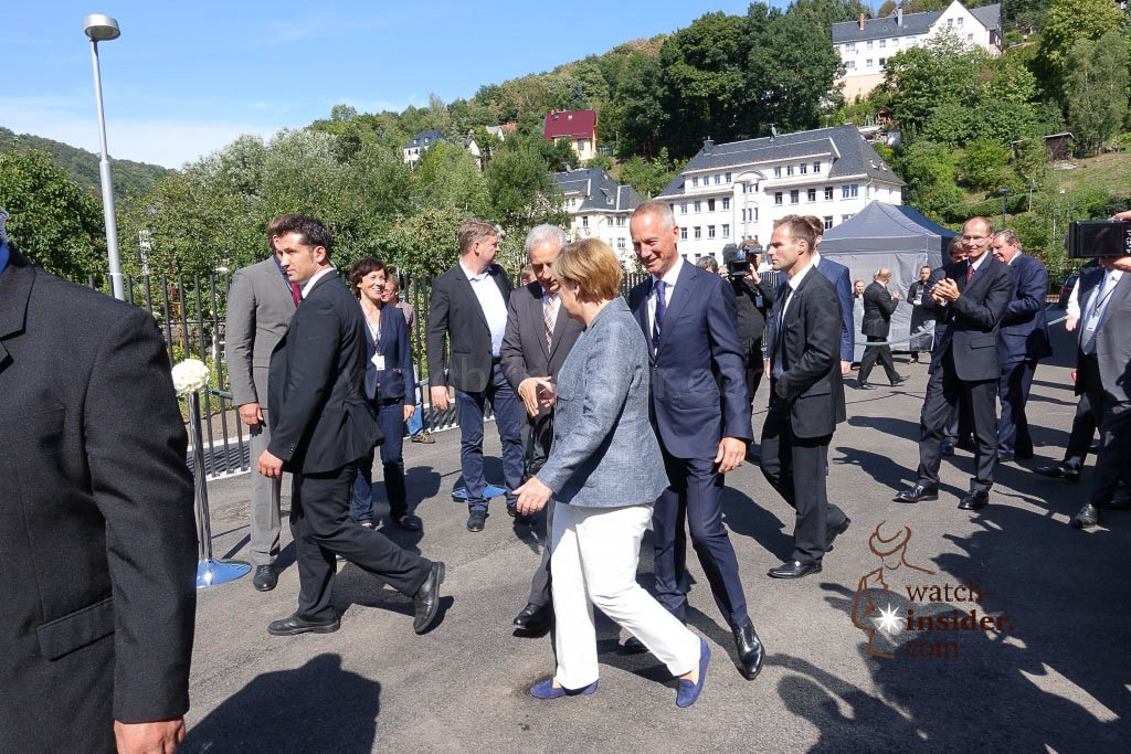 The German Chancellor Angela Merkel leaves after about one and a half hours. She said she really enjoyed her visit...