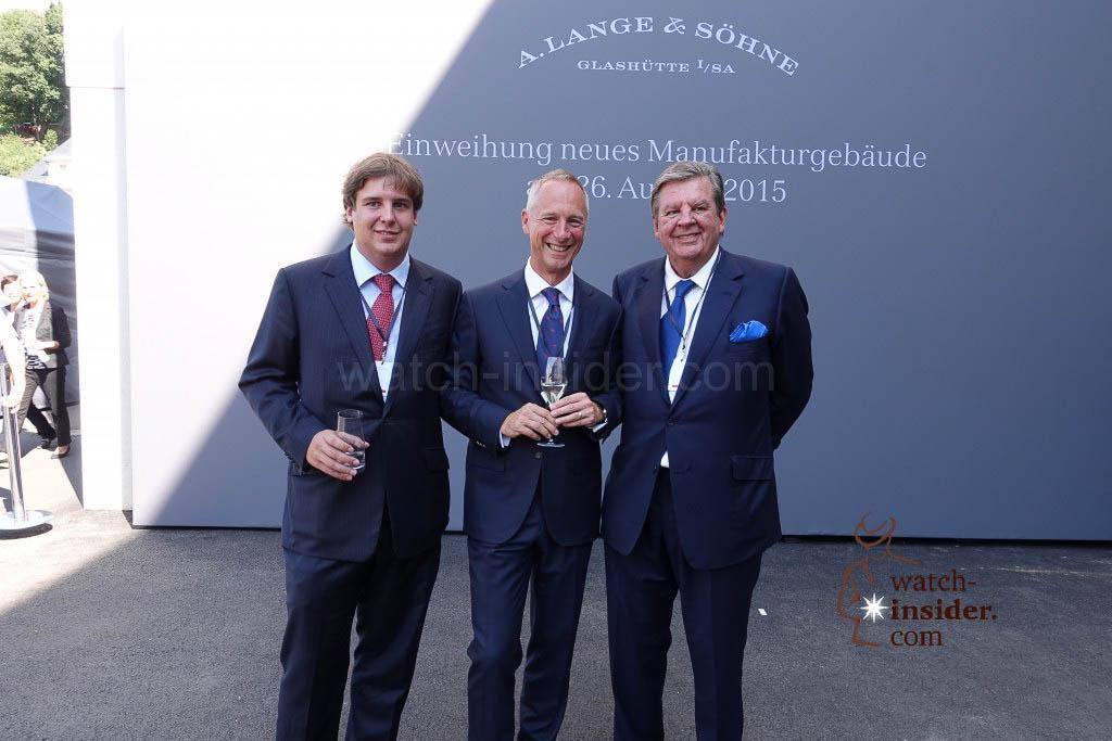 Anton Rupert, Lange CEO Wilhelm Schmid and Richemont Chairman Johann Rupert