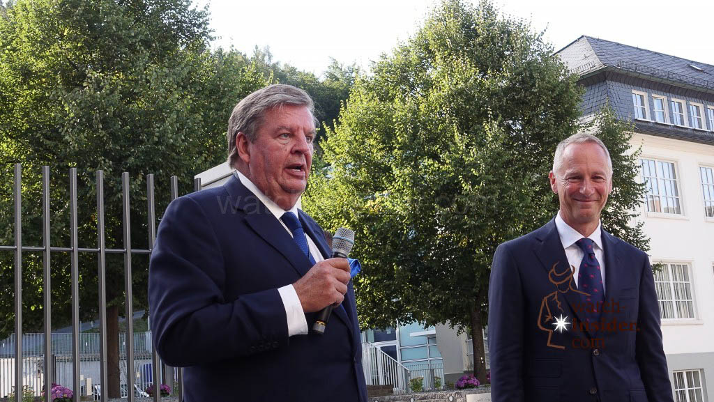 Richemont Chairman Johann Rupert addresses a few words to all the Lange employees