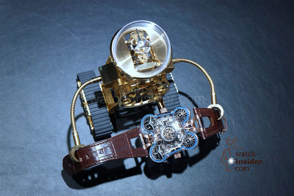 MB&F + L'Epée 1839 Sherman holds MB&F Horological Machine No6 SV in his hands