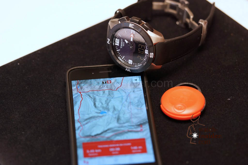 "Tissot Smart-Touch connected to an iPhone and its ""find-it"" accessory"