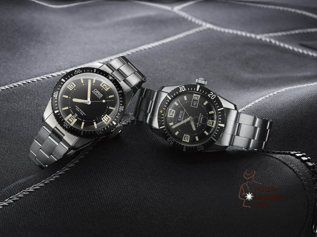 The new Oris Diver Sixty Five (left) and the vintage watch from the 1960s