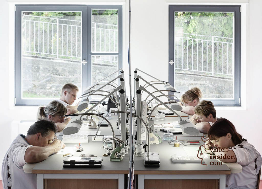 Nomos watchmakers at work. This is the department of complications.
