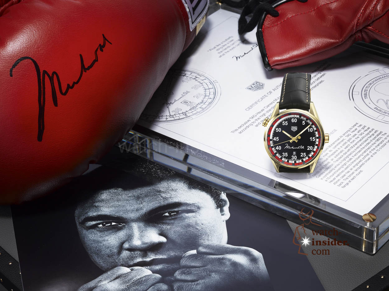 "Unique piece in gold of the TAG Heuer CARRERA Calibre 5 ""RING MASTER"" Special Edition Tribute to Muhammad Ali"