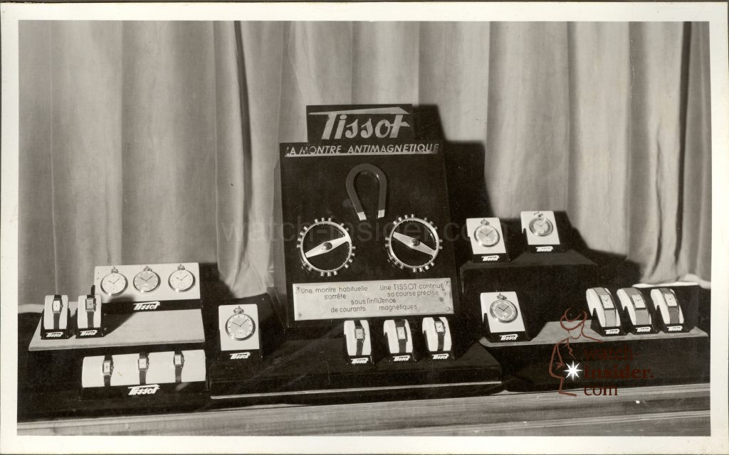 """Ca. 1934: A Tissot """"antimagnetique"""" display found in the Tissot archives"""