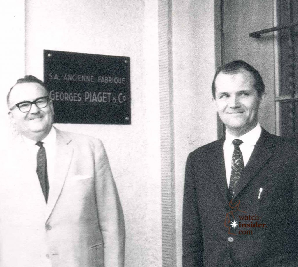 Gérald Piaget and Valentin Piaget in front of the Piaget Manufacture in La Côte-aux-Fées in the 1950's