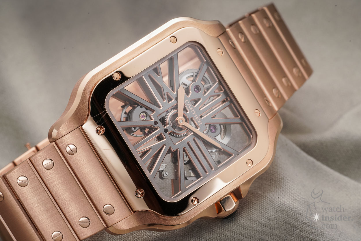 Santos de Cartier Skeleton Watch in rose gold